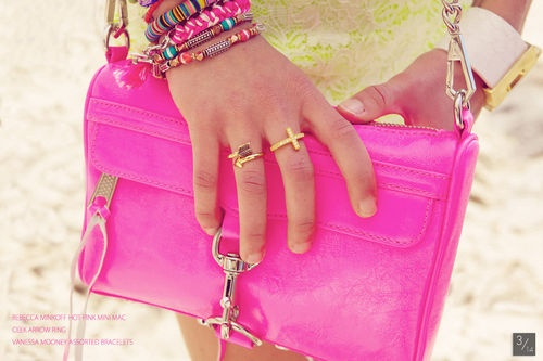pinkCandies Colors, Rebecca Minkoff, Arrows Rings, Hot Pink, New Fashion, Ties Dyes, Crosses Rings, Minis Mac, Rebeccaminkoff