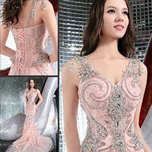 2015 la muestra verdadera sirena sirena cristal que rebordea atractivo de lujo mujer de noche largo viste los vestidos por encargo envío gratis SE2(China (Mainland))