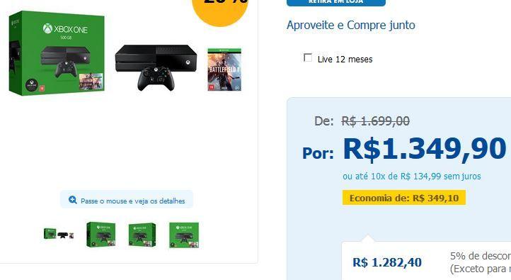 Console Xbox One 500GB  Kinect  Jogo Battlefield 1 << R$ 128240 >>