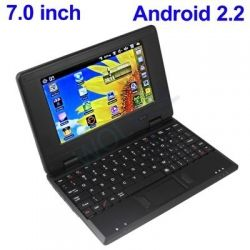 BLACK 7inch Android 2.2 Laptop Netbook with Installed WiFi and Camera 4gb HD 256mb RAM (INCLUDES: Velvet Pouch Case, Charger, Mini Optical Mouse)  Product sku: 116 Availability: Out Of Stock  Price: $119.94
