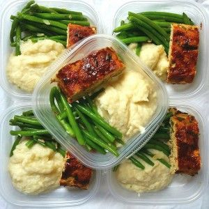 Another tasty meal prep! Here we have our very popular turkey meatloaf alongside creamed cauliflower and garlic string beans.  The cauliflower dish a great low-carb substitute for mashed potatoes; it's creamy, guilt-free goodness!  Visit mybodymykitchen.com for complete recipes.