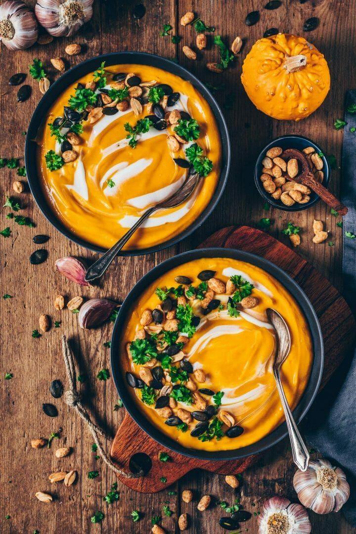 Cremige Kürbissuppe (vegan, einfach
