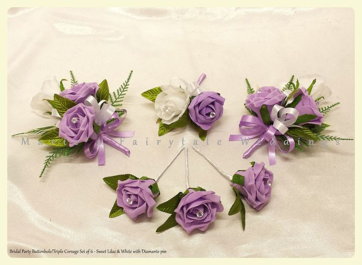 WEDDING FLOWERS BUTTONHOLE, PIN ON CORSAGE PEARLS/DIAMANTE ROSES SWEET LILAC