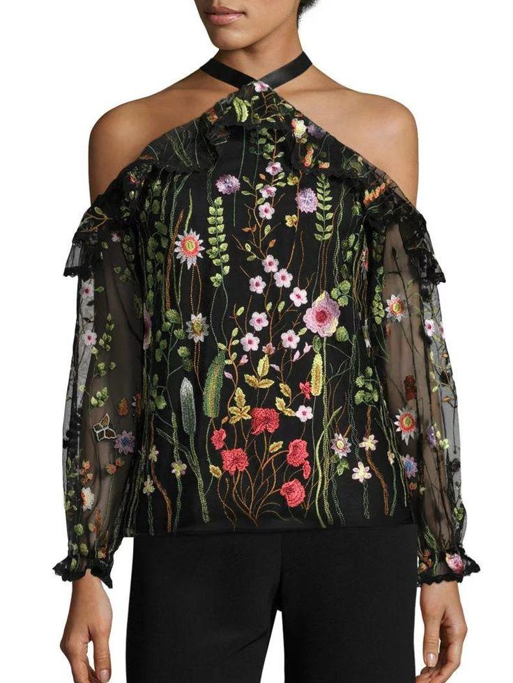 Halter off Shoulder Long Sleeve Floral Printed Blouse