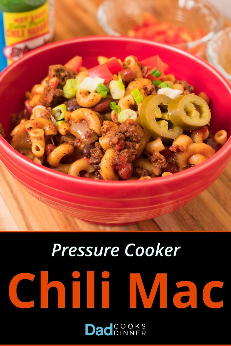 Pressure Cooker Chili Mac - chili and elbow pasta, together in a one-pot pressure cooker meal. | DadCooksDinner.com via @DadCooksDinner