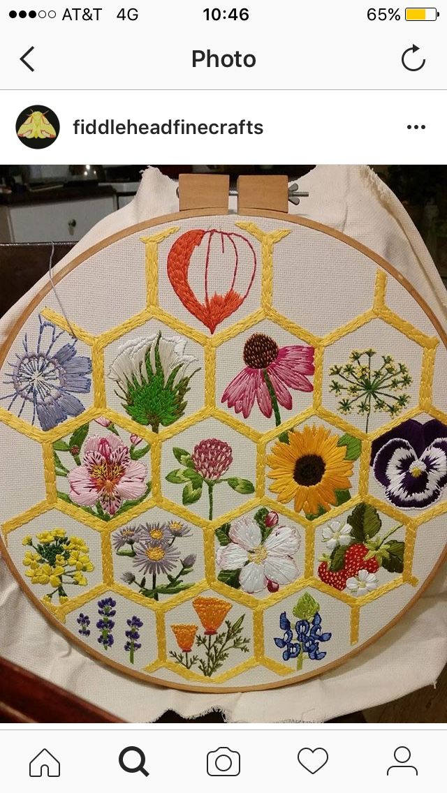 Honey comb with flowers embroidery