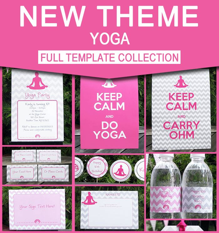 Yoga Party Printables we can make them say whatever we want