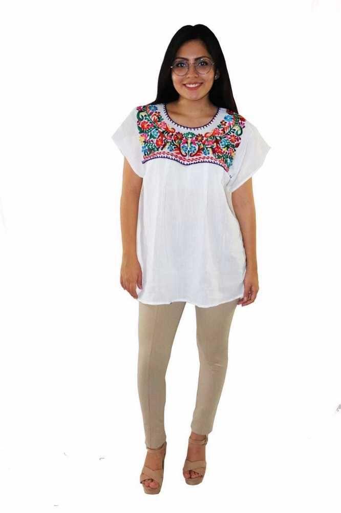 c25c1db315f5d1 Handmade Womens Embroidered Mexican Blouse Medium White Floral Bohemian  Fiesta #Handmade #MexicanBlousePeasantBlouse