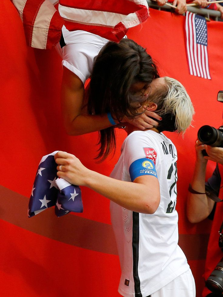 U.S. soccer player Abby Wambach celebrates with wife Sarah Huffman after the U.S. team's 5-2 victory against Japan in the FIFA Women's World Cup on July 5, 2015, in Vancouver, Canada.&nbsp