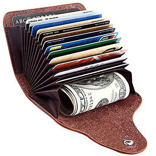 Arxur Credit Card Holder 15 Card Slots Leather Slim Wallet Business Card Case Wallets For Women Travel Purse Rfid Wallet