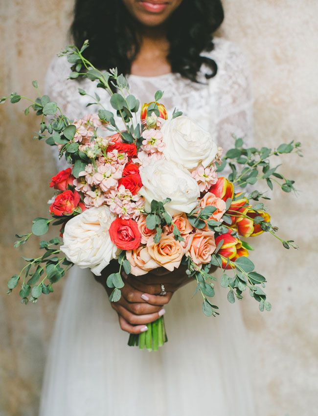 green and coral bouquet