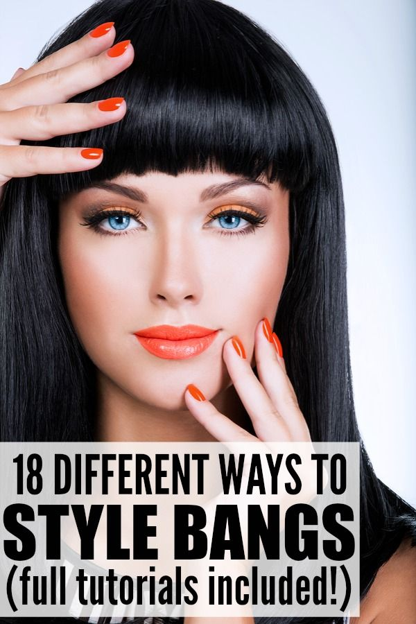 If you're trying to figure out how to get the perfect side swept bangs, need inspiration for dressing up your blunt, straight-across fringe, or want ideas on different hairstyles that will work while you're trying to grow your bangs out, this collection of 18 different ways to style bangs has EVERYTHING you need. Tutorial 4 has THE BEST TIP for side swept bangs, and I love the clipped-up look in tutorial 10!