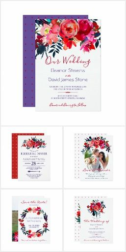 Bright colorful red navy vibrant flowers.  Vibrant red burgundy, blush pink, magenta, dark midnight blue and purple violet bohemian floral bouquets making beautiful wedding suites and spring summer special occasions party invitations.  #ad #red #blue #burgundy #navy #floral #flowers #weddinginvitations