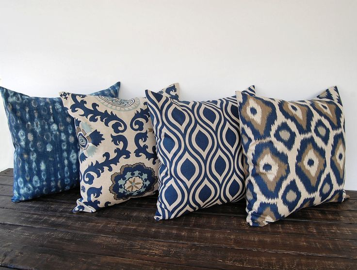 "Throw pillow covers 18"" x 18"" Set Of Four blue gray beige ikat batik cushion cover pillow sham. $74.00, via Etsy."