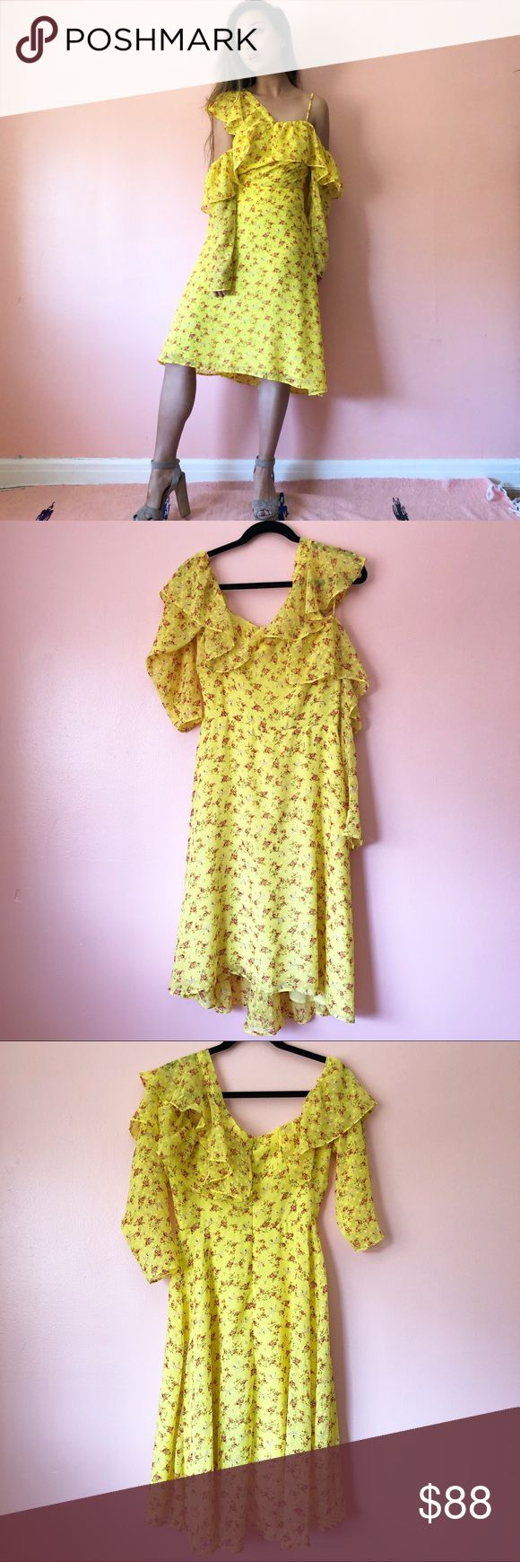 ASOS Yellow Floral Ruffle Midi Dress Sip some lemonade in this yellow floral ruffle midi dress by ASOS. Features an asymmetrical ruffle strap, spaghetti strap, off shoulder ruffle and sleeves, fitted bodice and midi length skirt. Wear with strappy heels or boots. Fits true to US 6. Pinned on model to show fit. No returns allowed. Please ask all questions before buying. Follow IG: [at] jacqueline.pak for sneak peeks, first dibs, giveaways and discount codes. #asos ASOS Dresses Midi
