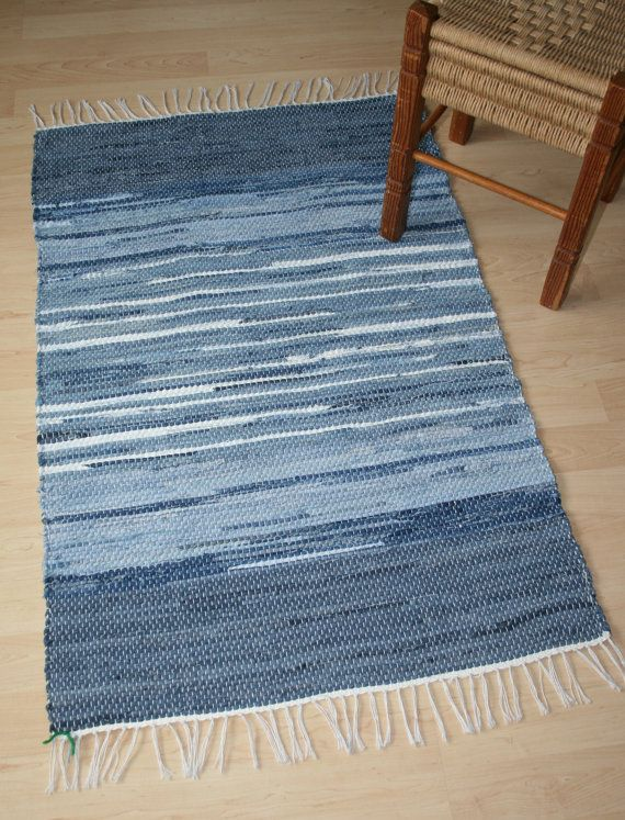 DENIM TAKE TWO  Handwoven rug made from recycled jeans by finnishweaver of Etsy