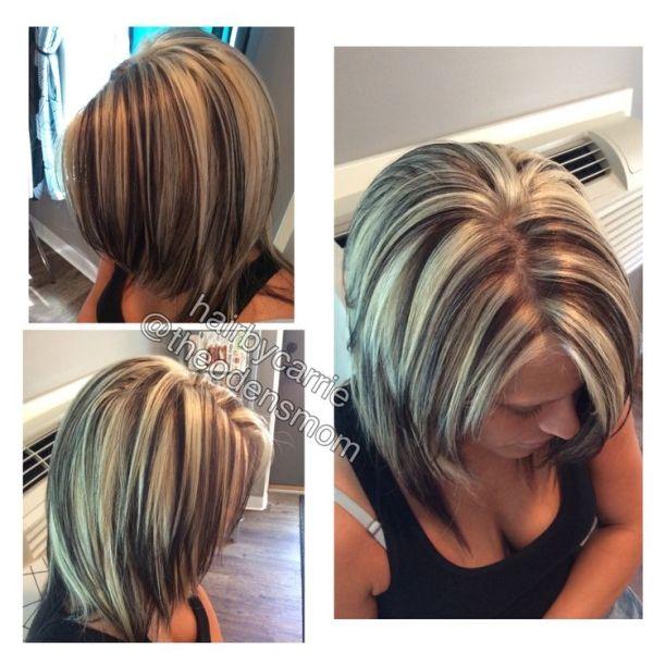 Chunky highlights and lowlights. Platinum hair. Dark brown hair. Kenra Professional hair color. Foil work. Hair by Carrie Murtaugh. Platinum highlights on dark hair. by suzette