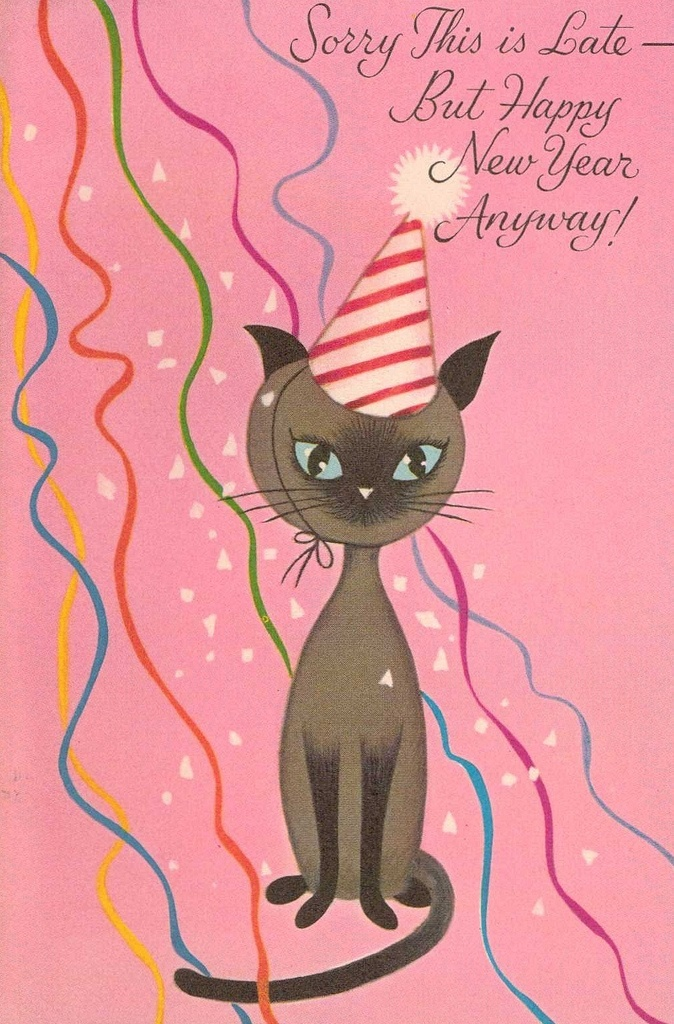 Belated Happy New Year cat card: Cat Art, Happy New Year, Art Cards, Kitty Art, Greeting Cards, Cat Cards, Pretty Kitty, Art Cat, New Years