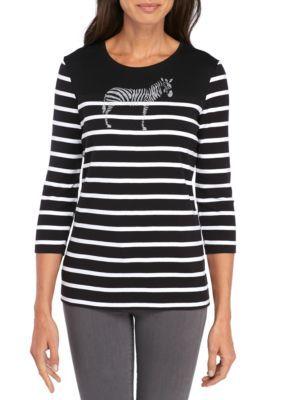 Kim Rogers Women's 3/4 Sleeve Crew Neck Zebra Glitter Top - Black/White - Xxl