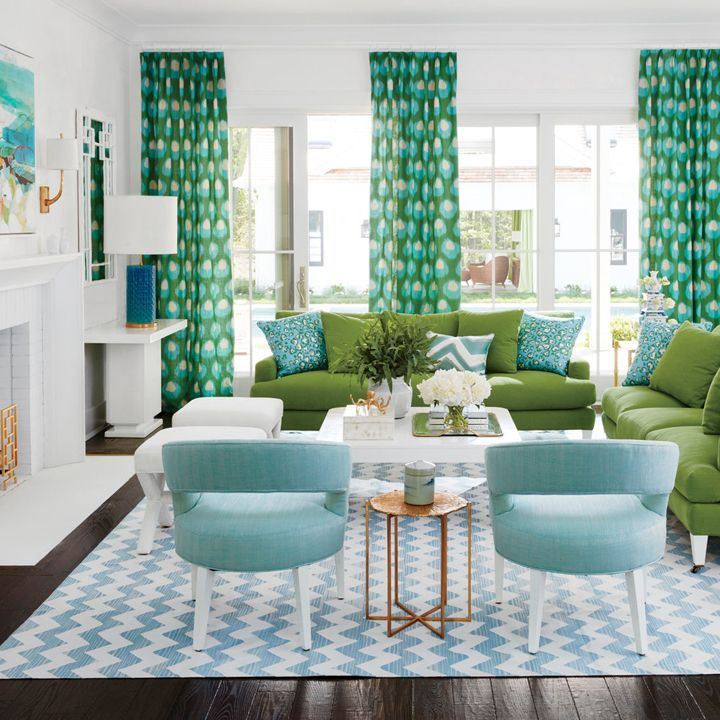 blue and green living room | 2016 Coastal Living Magazine Hamptons Showhouse