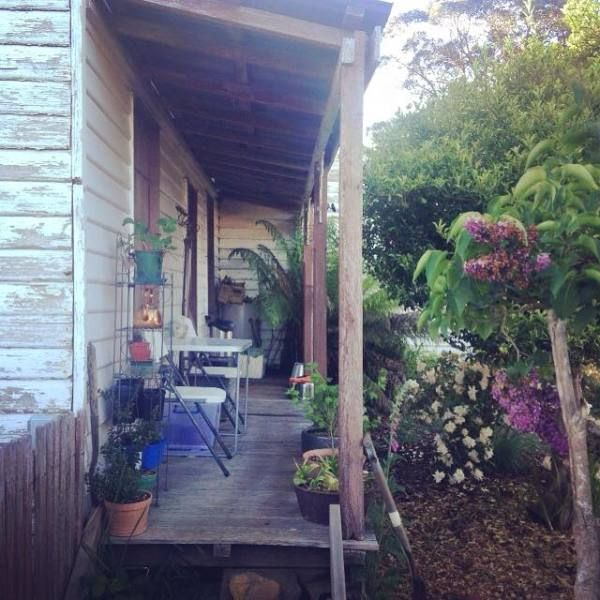 The tiny verandah where I do my eco dyeing. My Elephant, Tasmania.