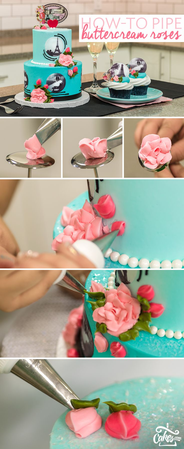 "Perfectly piped buttercream roses are sure to add that ""wow"" factor to your creations."