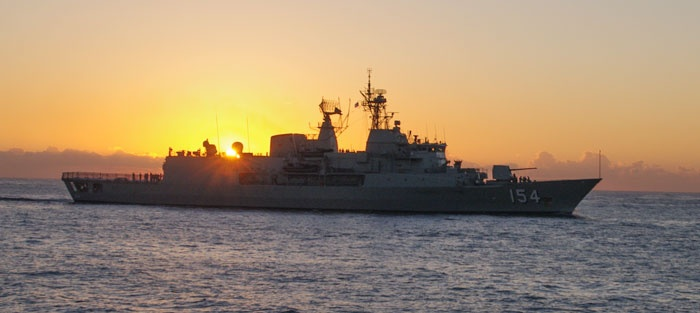 Australian Navy Ship coming through Sydney Heads