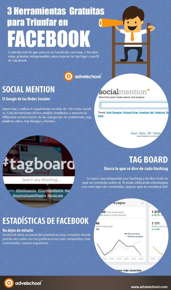 Hola: Una infografía con 3 herramientas gratuitas para triunfar en FaceBook. Vía Un saludo