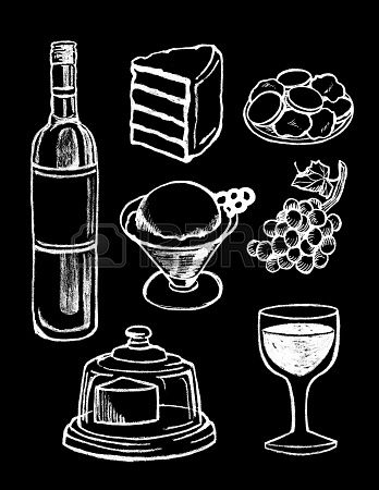 set of hand drawn textured food illustrations in vintage chalkboard style  Stock Photo - 19670356