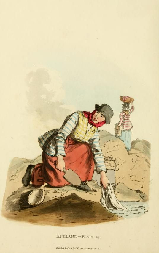 Welsh women, washing their linens ~ Picturesque representations of the dress and manners of the English (1813)