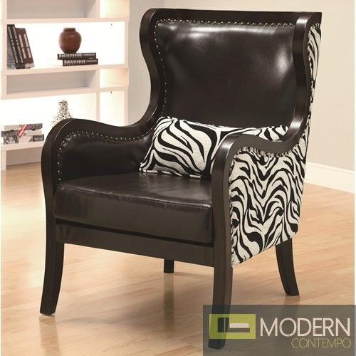Best Celine Exposed Wood Zebra Print Accent Chair With Nailhead 400 x 300