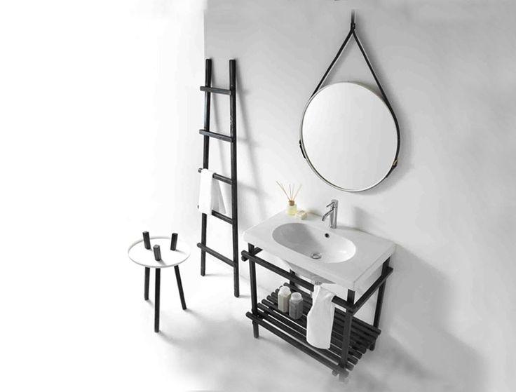 CERAMICA GALASSIA Eden Specchio tondo con cinghie. #arredamento #mirror #specchi #ideebagno #design #therapy4home