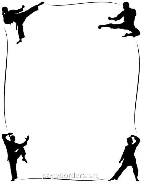 Printable karate border. Use the border in Microsoft Word or other programs for creating flyers, invitations, and other printables. Free GIF, JPG, PDF, and PNG downloads at http://pageborders.org/download/karate-border/