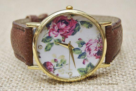 Floral Watch, montres femmes, Vintage Style cuir montre, montre unisexe, Watch copain, meilleur cadeau d'amitié. B-609