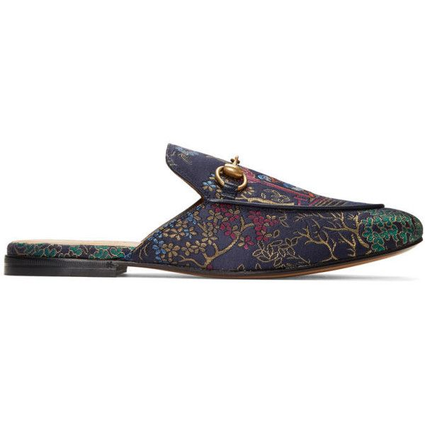 Gucci Navy Donald Duck Princetown Slip-On Loafers ($620) ❤ liked on Polyvore featuring men's fashion, men's shoes, men's loafers, navy, mens slip on shoes, mens woven loafer shoes, mens woven shoes, mens woven leather slip-on shoes and navy blue mens shoes