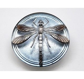 Czech Glass Cabochon Blue Montana - Silver Dragonfly