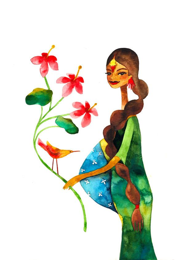 Indian Mother Print Illustration Watercolor Pregnancy Maternity Baby