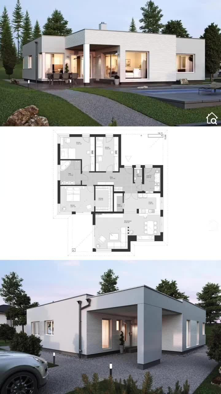 Bungalow House Plans Modern One Level Architecture Remodels And Restorations Houzz Contemporary In 2020 House Construction Plan Bungalow House Design Modern Style House Plans