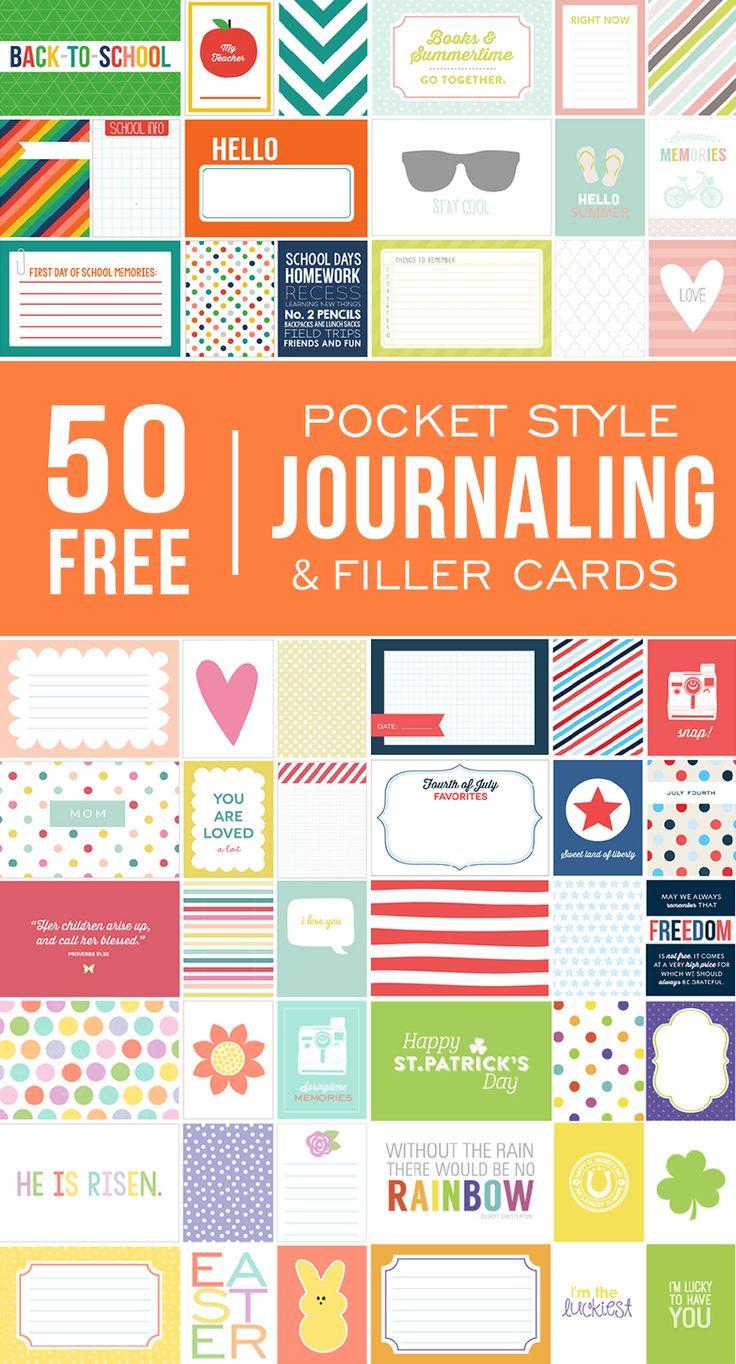 Scrapbook ideas printable - 50 Free Printable Pocket Style Journaling Filler Cards