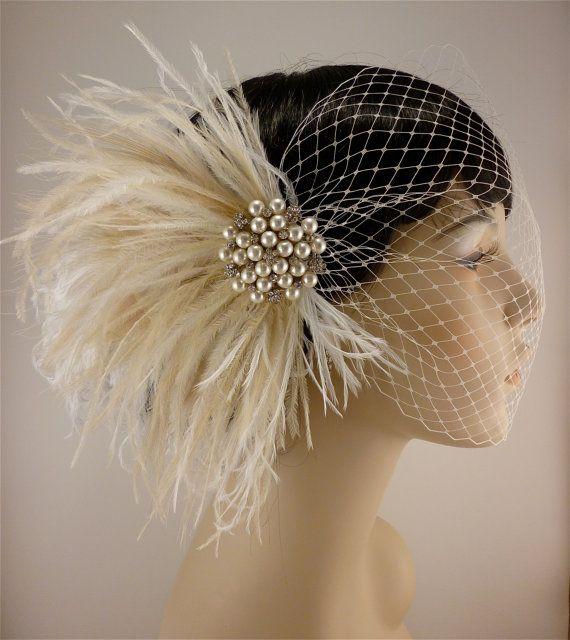 Fascinator Bridal Hair Piece Rhinestone Pearl Bridal Feather Fascinator Ivory Feather Fascinator Bridal Headpiece Wedding Veil Old Hollywood