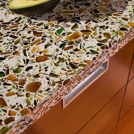 This Countertop Is Made By Vetrazzo Recycled Glass Countertops. They Are  Made In The USA With Recycled Glass. Shown: Alehouse Amber.