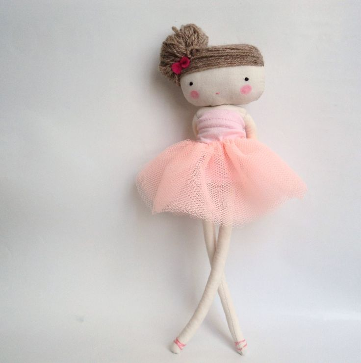 Ballerina rag doll - plush toy cloth art doll ballerina in pink tutu dancer  ballet made to order. $33.50, via Etsy.