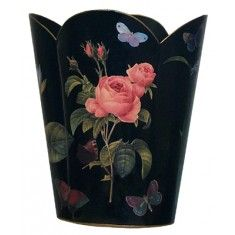 Black with Pink Rose Decoupage Wastebasket and Optional Tissue Box