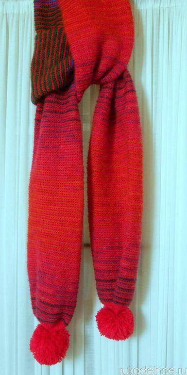 вязаный шарф мохер с помпонами (rukodelnoe.ru)