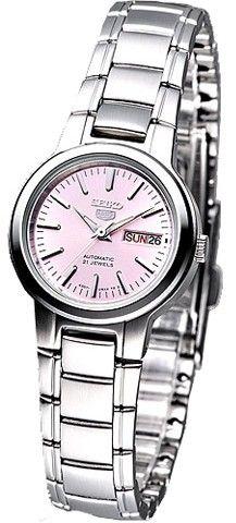 Montre Femme Seiko SYME41K1 Automatique, bracelet et boîtier acier, cadran rose.