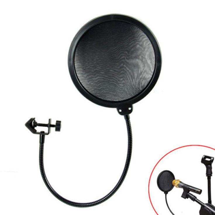 Nueva Doble Capa Estudio Micrófono de Grabación Grabación de Micrófono Viento Máscara Pantalla Pop Filtro Shield Para Hablar