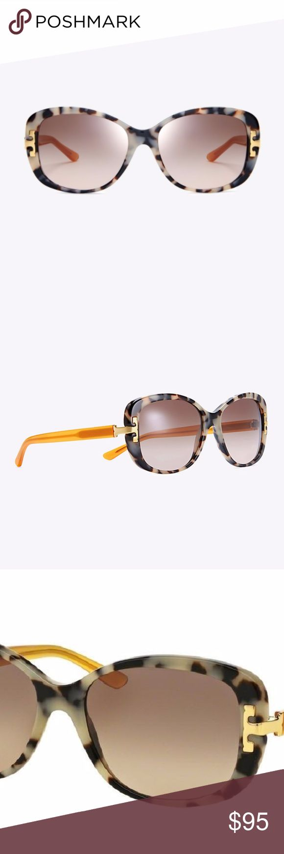 Tory Burch Serif-T Women's Sunglasses (Authentic) NWOT. Never used. Polished and feminine, the Tory Burch Serif-T Rectangle Sunglasses are made of acetate, with a tortoise front and a contrasting solid temple. Featuring gradient lenses, the flattering frame has a metal logo at the hinges for a signature finish. Includes a protective orange case made from high quality, scratch-resistant leather.  Brand: Tory Burch Style: Serif-T Rectangle Sunglasses Colors: Black/White Tortoise and Marigold…