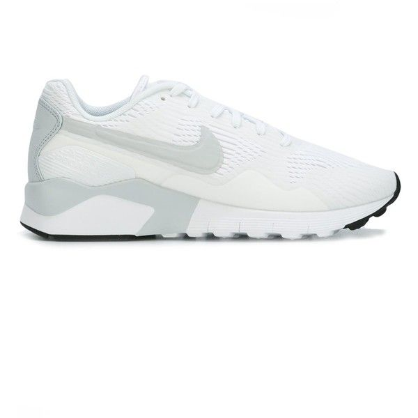 Nike 'Air Pegasus 92/16' sneakers ($70) ❤ liked on Polyvore featuring shoes, sneakers, white, white trainers, white sneakers, nike footwear, rubber sole shoes and nike trainers