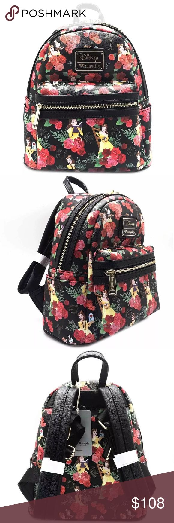Belle All-Over-Print Mini Backpack from Loungefly. Make an offer on This romantic festival backpack features an all-over printed graphic of Disney Belle and her red rose on PU leather base, dual reinforced padded shoulder straps, top handle, front exterior zipped pocket, two side exterior pockets, fully lined interior, and top zip closure. loungefly Bags Backpacks
