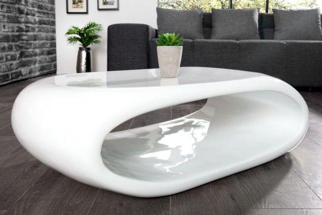 Moderner Couchtisch Space Hochglanz Weiss 100cm Couchtisch Modern